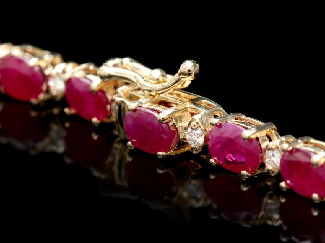 14k Gold 30.00ct Ruby 1.60ct Diamond Necklace - 5
