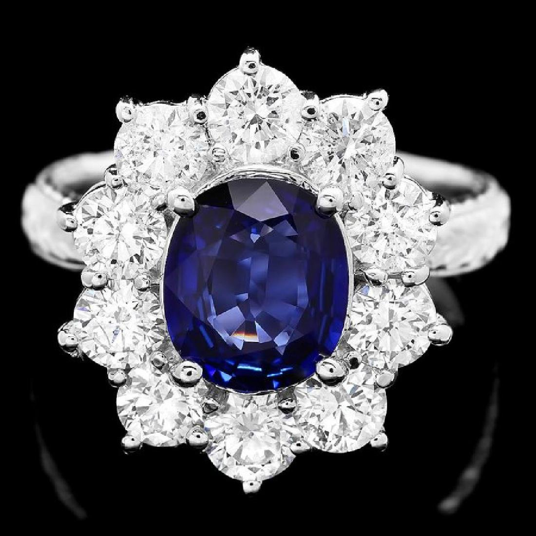 18k Gold 2.00ct Sapphire 2.00ct Diamond Ring