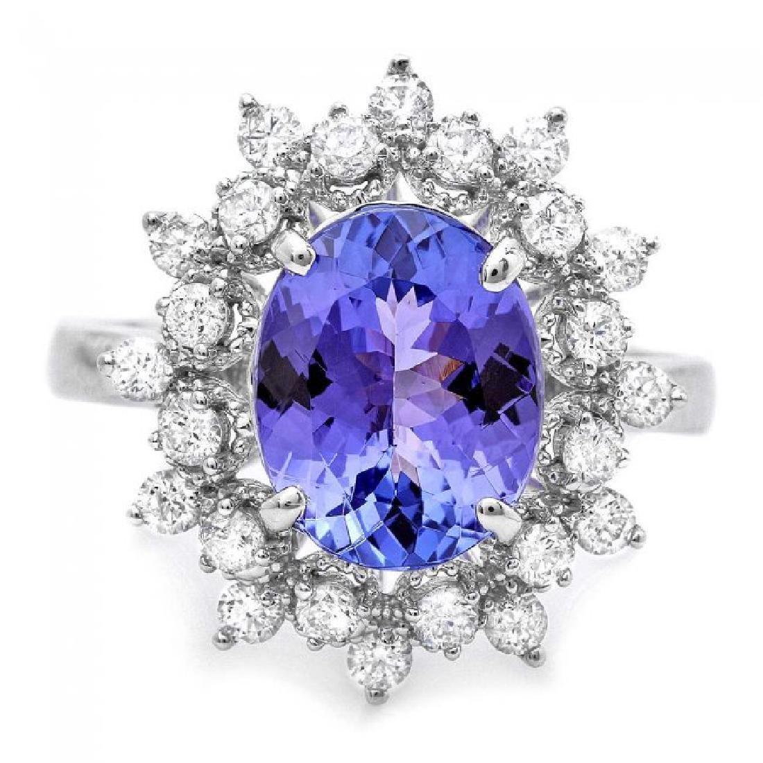 14k Gold 2.60ct Tanzanite 0.65ct Diamond Ring - 2