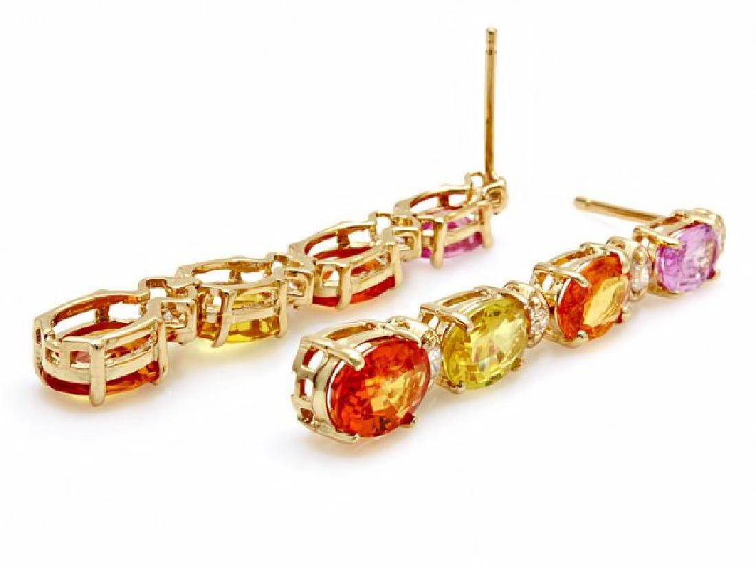 14k Gold 7ct Sapphire 0.40ct Diamond Earrings - 2