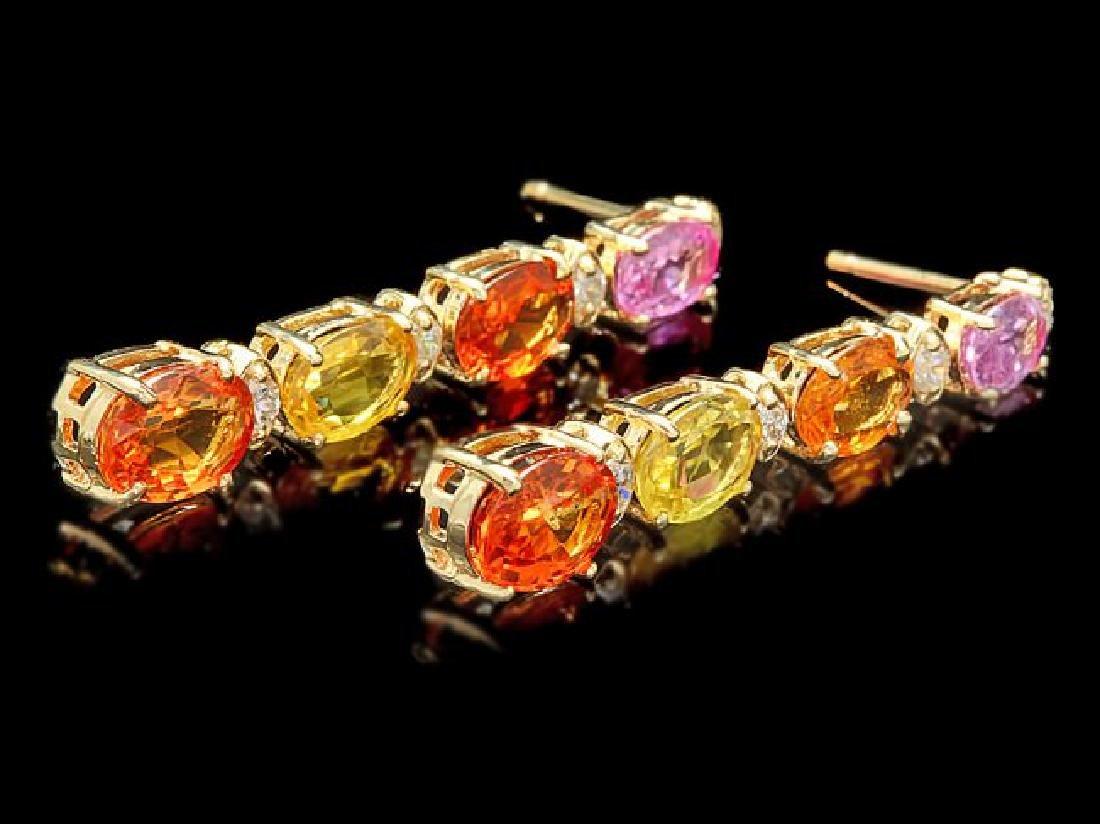14k Gold 7ct Sapphire 0.40ct Diamond Earrings - 3
