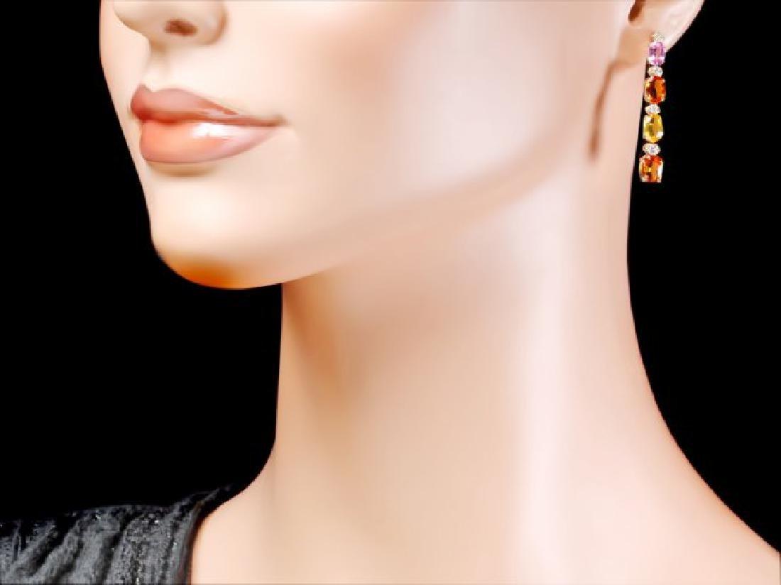14k Gold 7ct Sapphire 0.40ct Diamond Earrings - 4