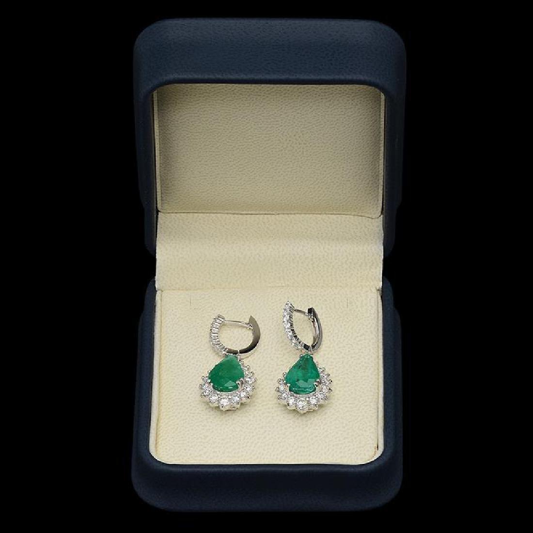 14K Gold 7.24ct Emerald & 2.51ct Diamond Earrings - 2