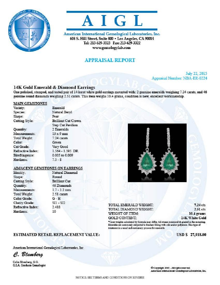 14K Gold 7.24ct Emerald & 2.51ct Diamond Earrings - 3