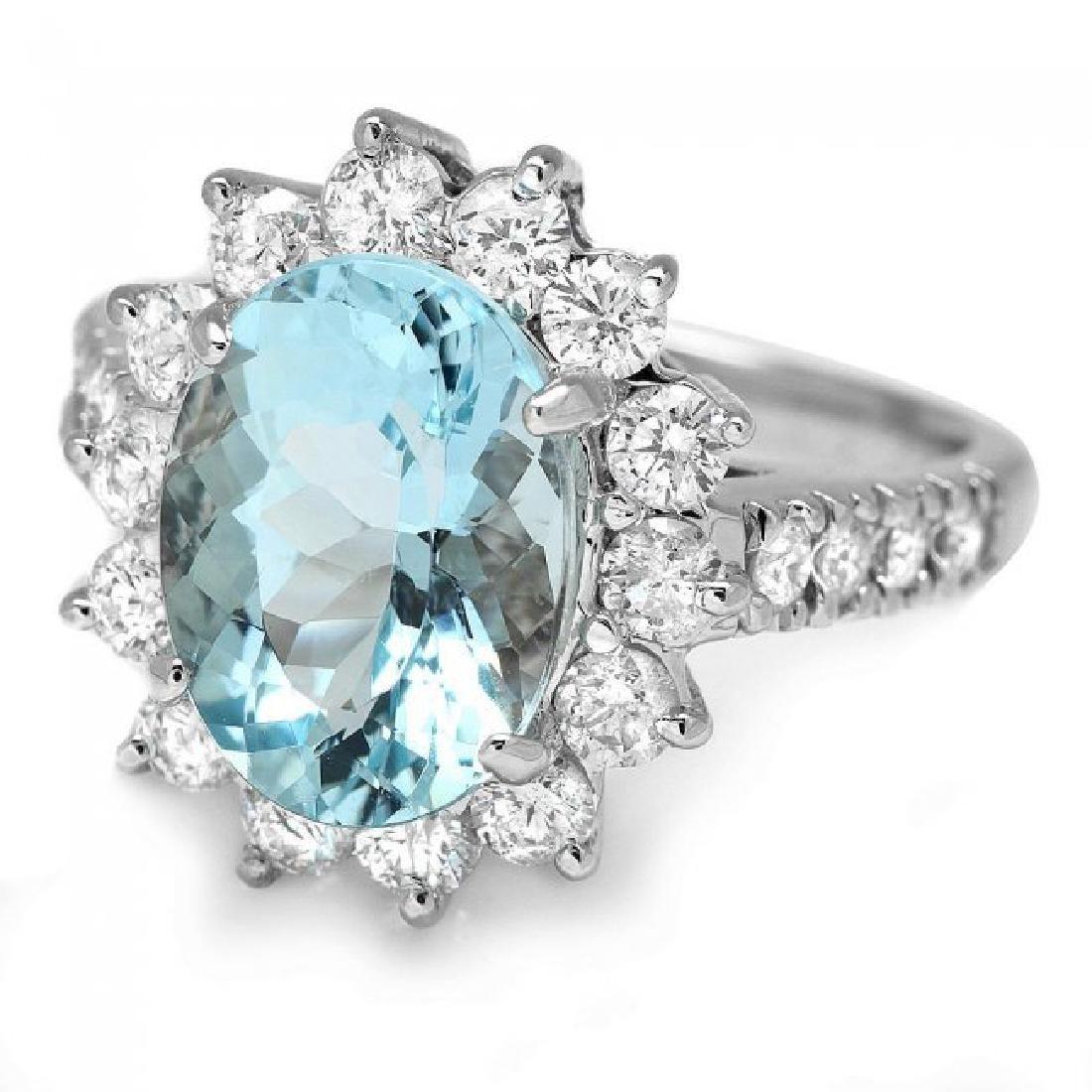 14k Gold 3.00ct Aquamarine 1.10ct Diamond Ring - 2