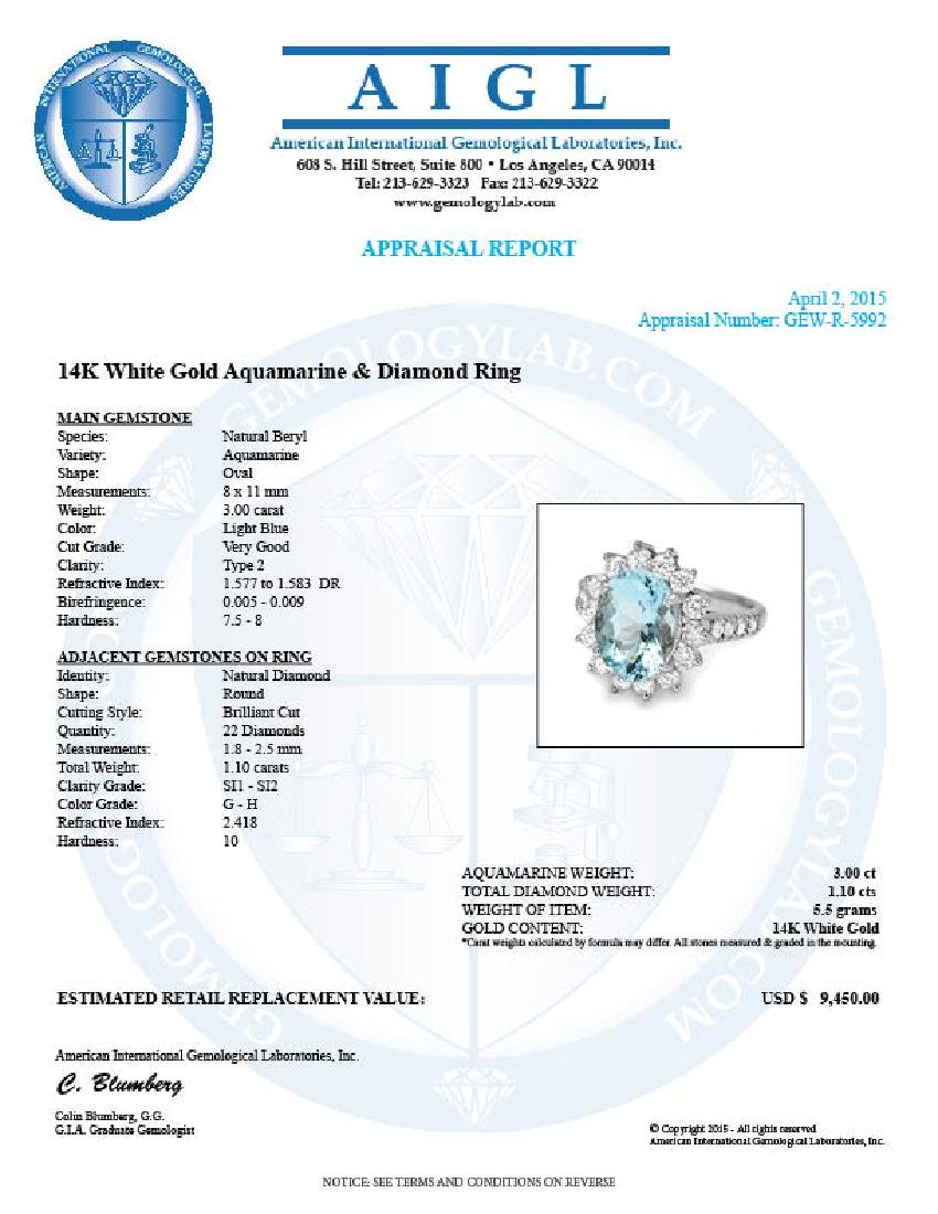 14k Gold 3.00ct Aquamarine 1.10ct Diamond Ring - 5