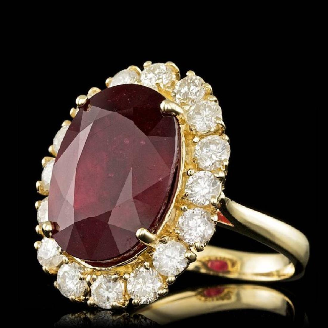 14k Yellow Gold 16.00ct Ruby 2.20ct Diamond Ring