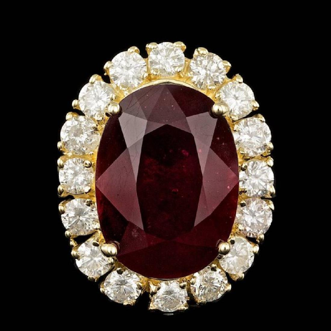 14k Yellow Gold 16.00ct Ruby 2.20ct Diamond Ring - 2