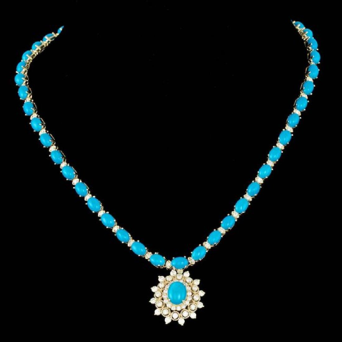 14k Gold 53.5ct Turquoise 5.20ct Diamond Necklace