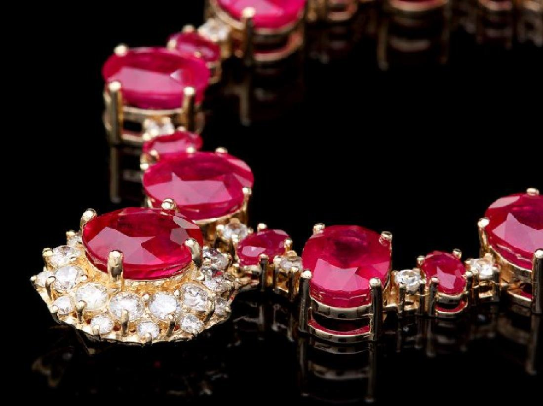 14k Gold 72.00ct Ruby 1.30ct Diamond Necklace - 3