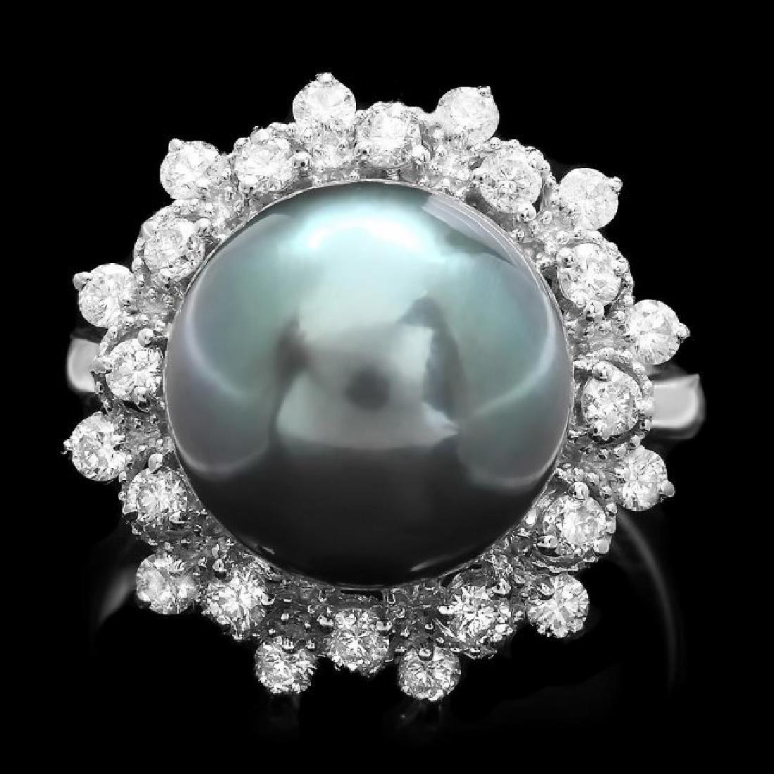 14k Gold 12 X 12mm Pearl 0.75ct Diamond Ring