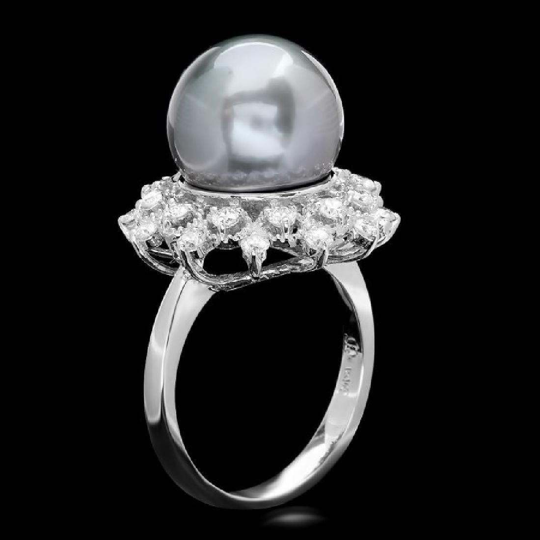 14k Gold 12 X 12mm Pearl 0.75ct Diamond Ring - 2