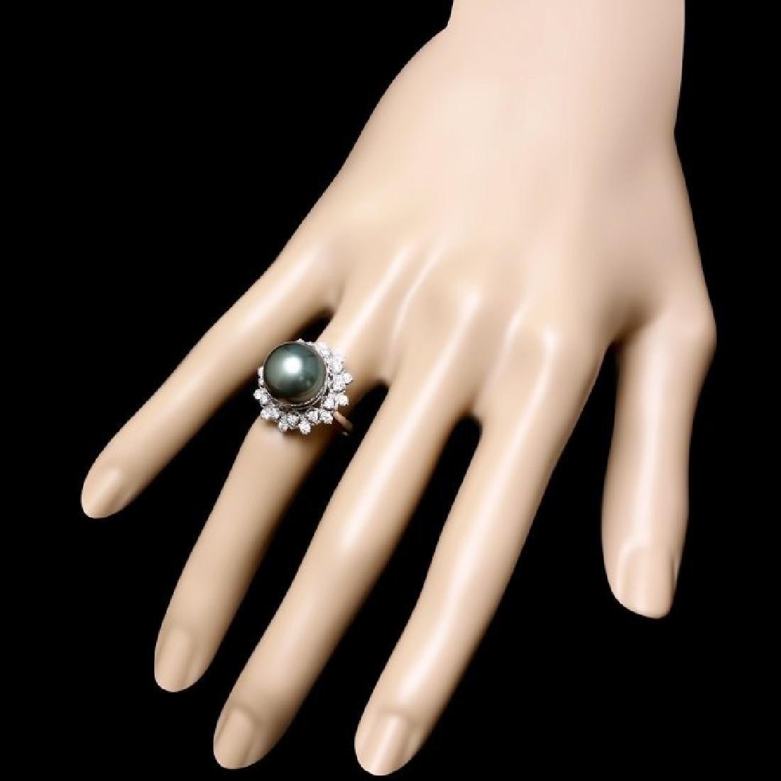 14k Gold 12 X 12mm Pearl 0.75ct Diamond Ring - 3