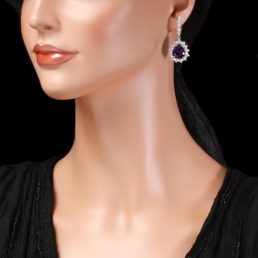 14k Gold 11ct Amethyst 2.10ct Diamond Earrings - 3