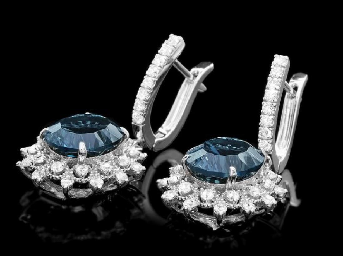 14k Gold 12.00ct Topaz 1.90ct Diamond Earrings - 2