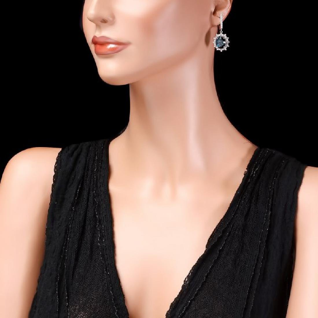 14k Gold 12.00ct Topaz 1.90ct Diamond Earrings - 3