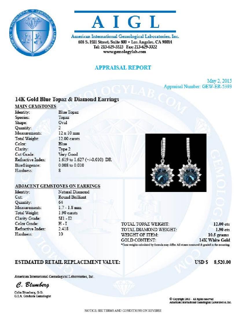 14k Gold 12.00ct Topaz 1.90ct Diamond Earrings - 4