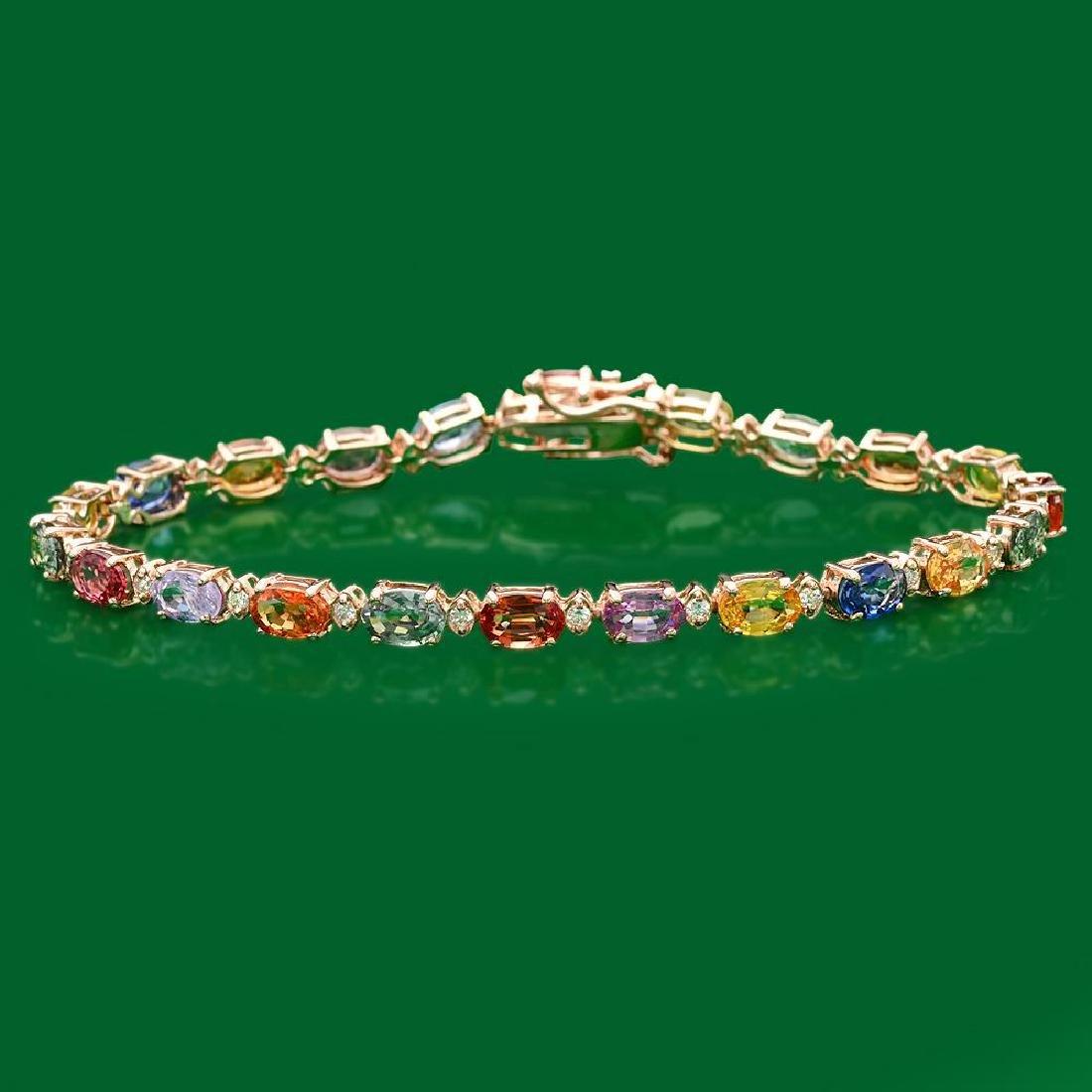 14k Gold 12.9ct Sapphire 0.50ct Diamond Bracelet