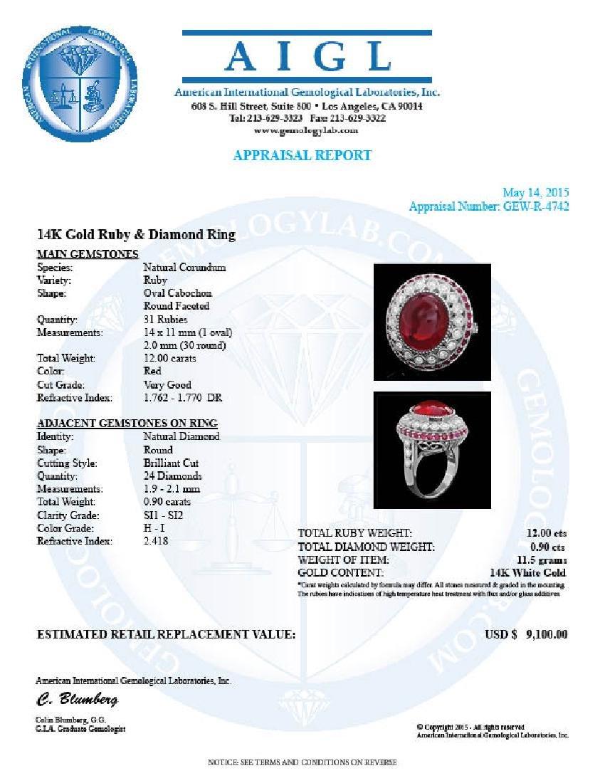 14k White Gold 12ct Ruby 0.90ct Diamond Ring - 4