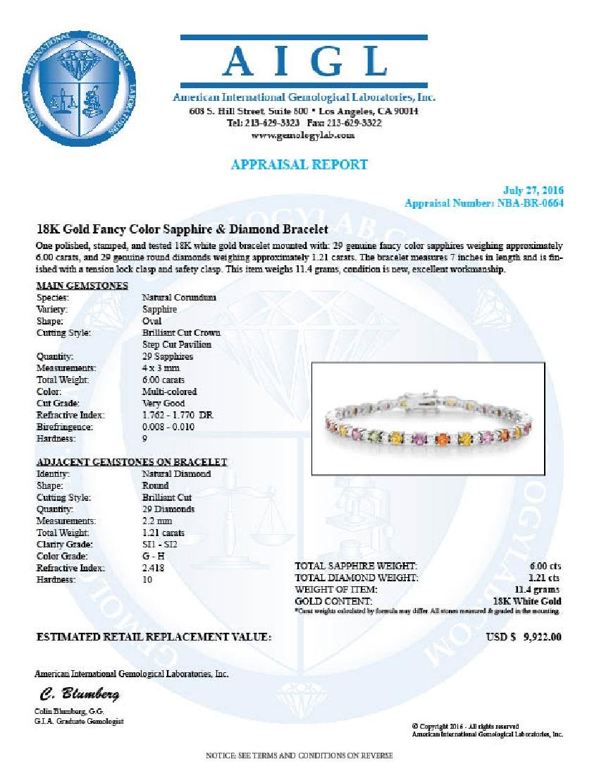 14K Gold 6.00ct Fany Color Sapphire 1.21cts Diamond - 4