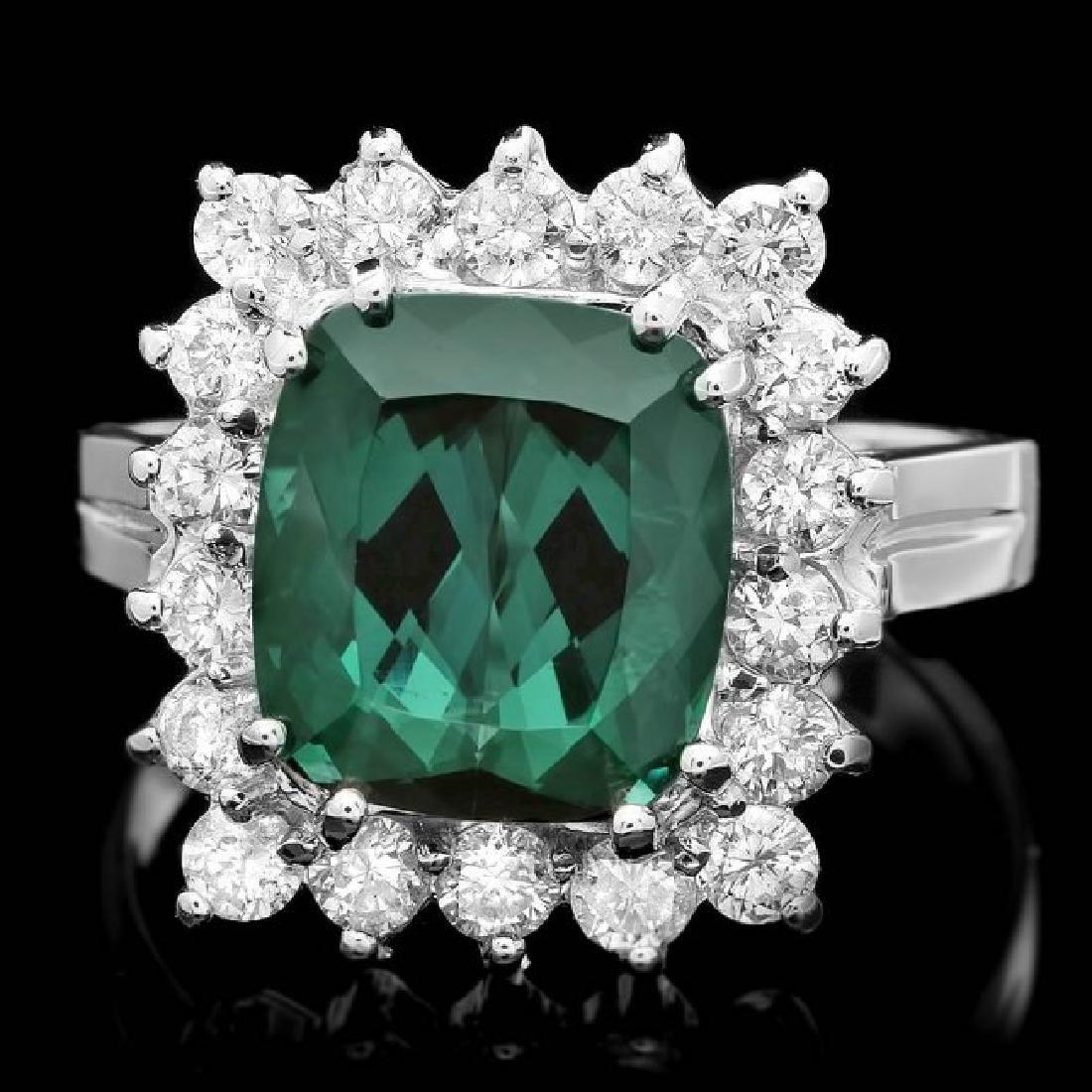 14k Gold 4.50ct Tourmaline 1.00ct Diamond Ring