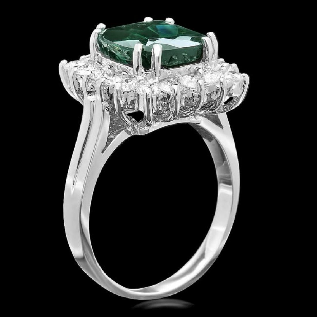 14k Gold 4.50ct Tourmaline 1.00ct Diamond Ring - 2