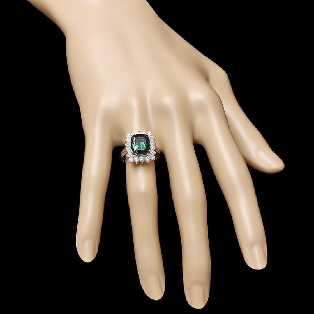 14k Gold 4.50ct Tourmaline 1.00ct Diamond Ring - 3