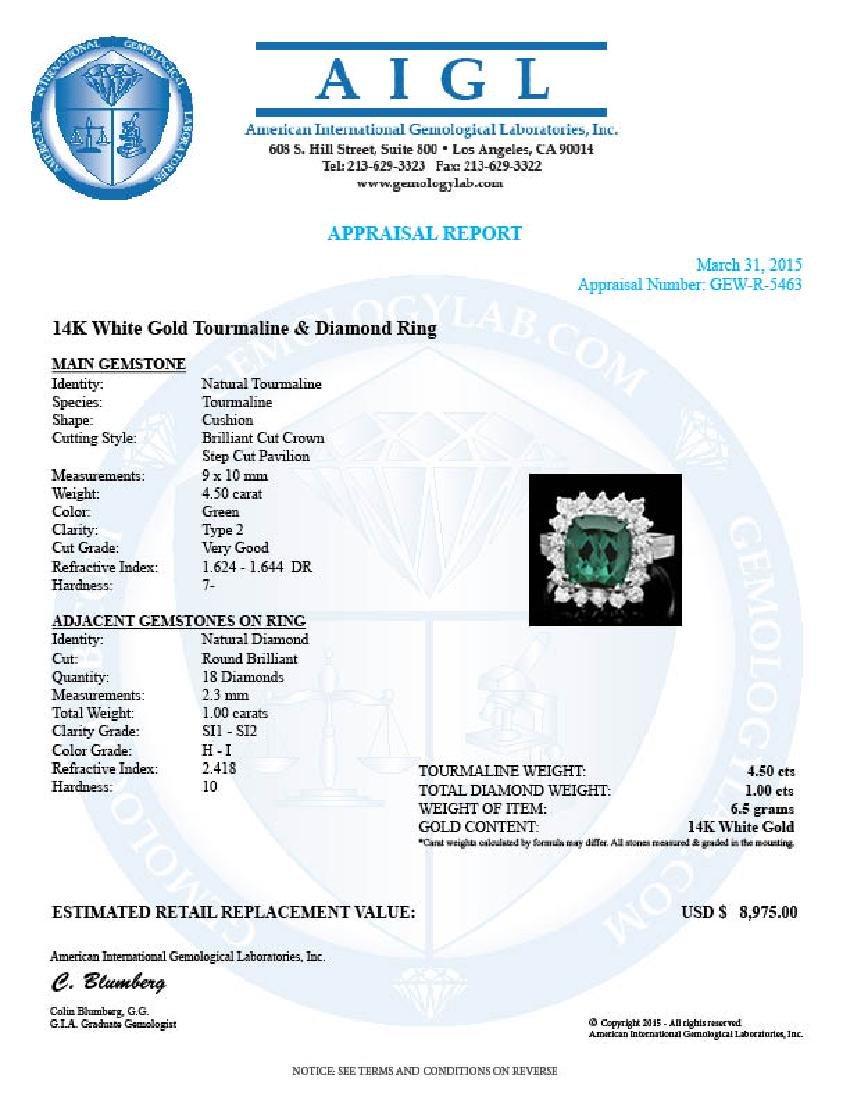 14k Gold 4.50ct Tourmaline 1.00ct Diamond Ring - 4