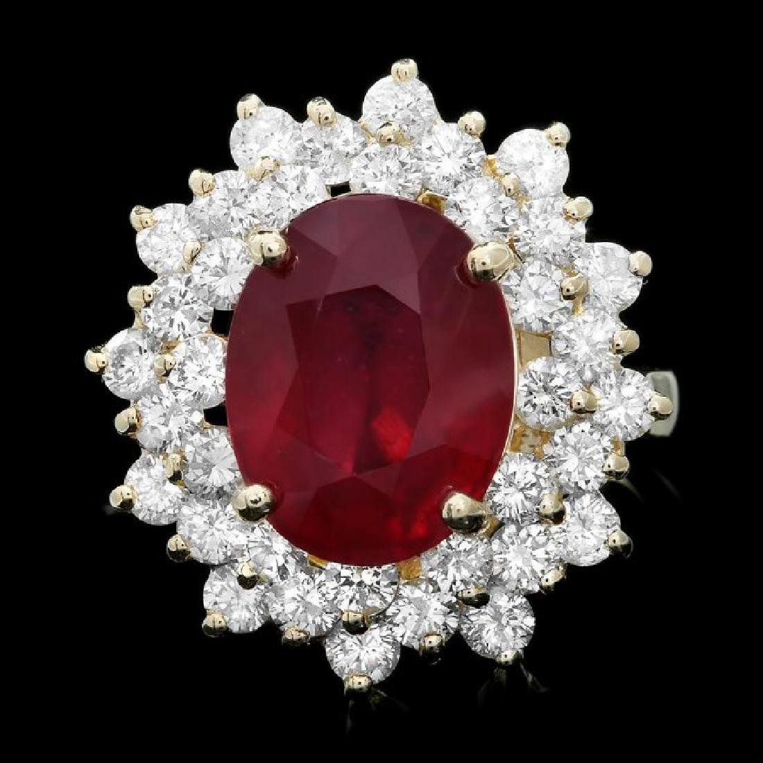14k Yellow Gold 7.50ct Ruby 2.30ct Diamond Ring
