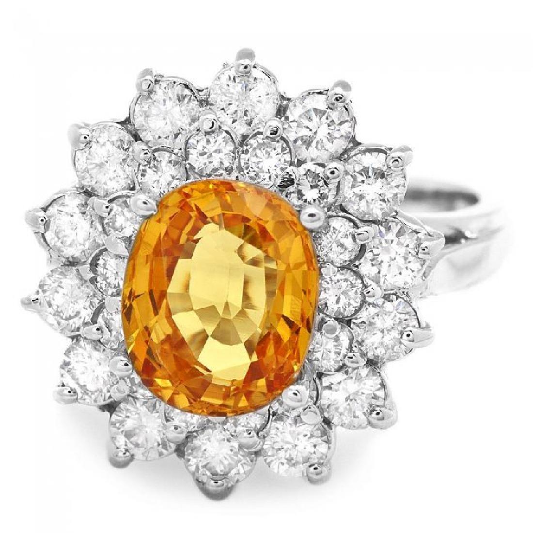 14k Gold 2.75ct Sapphire 1.40ct Diamond Ring - 2