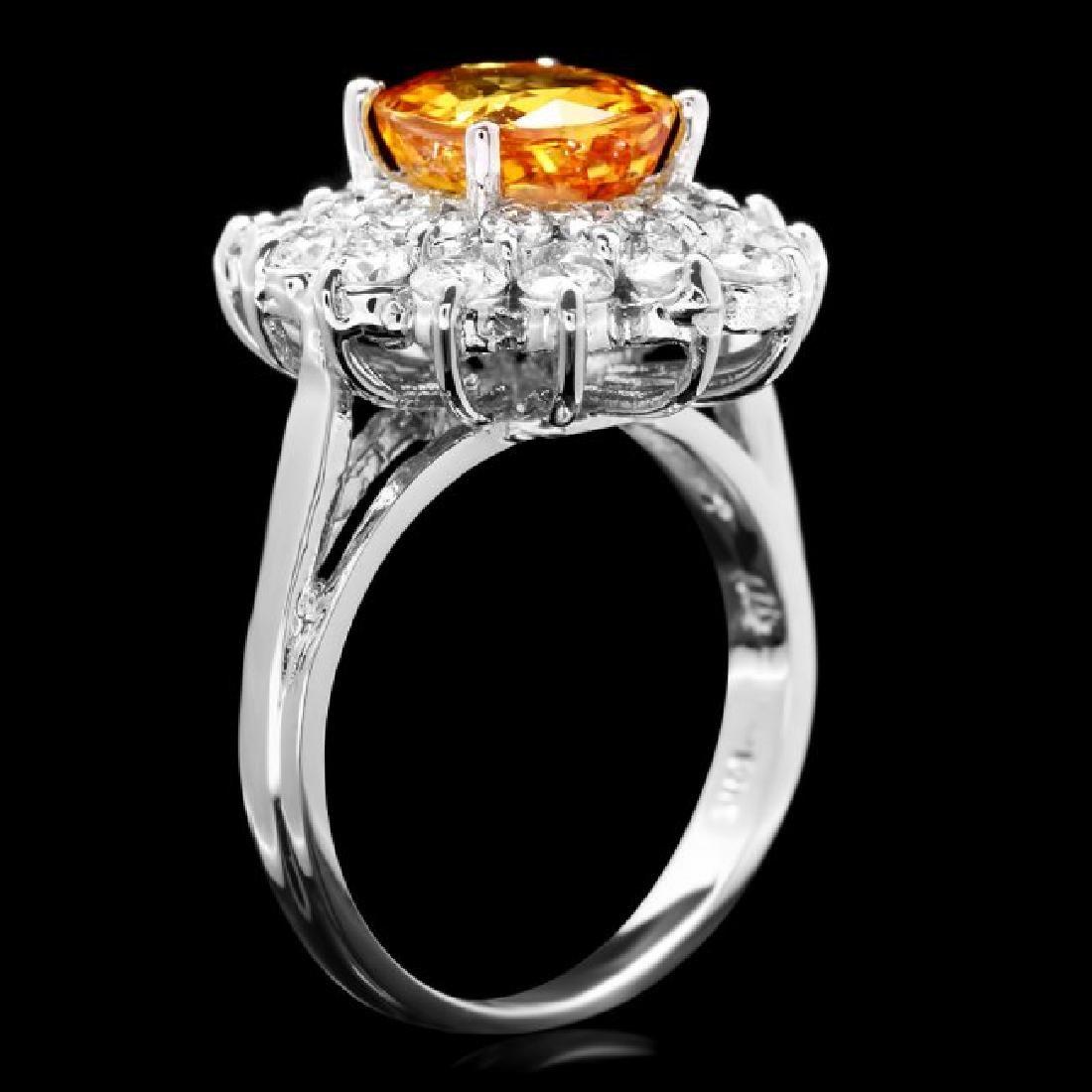 14k Gold 2.75ct Sapphire 1.40ct Diamond Ring - 3