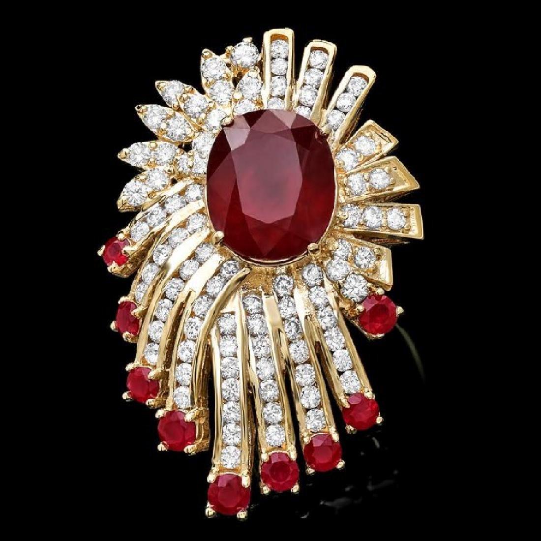14k Yellow Gold 10ct Ruby 3.70ct Diamond Ring - 2