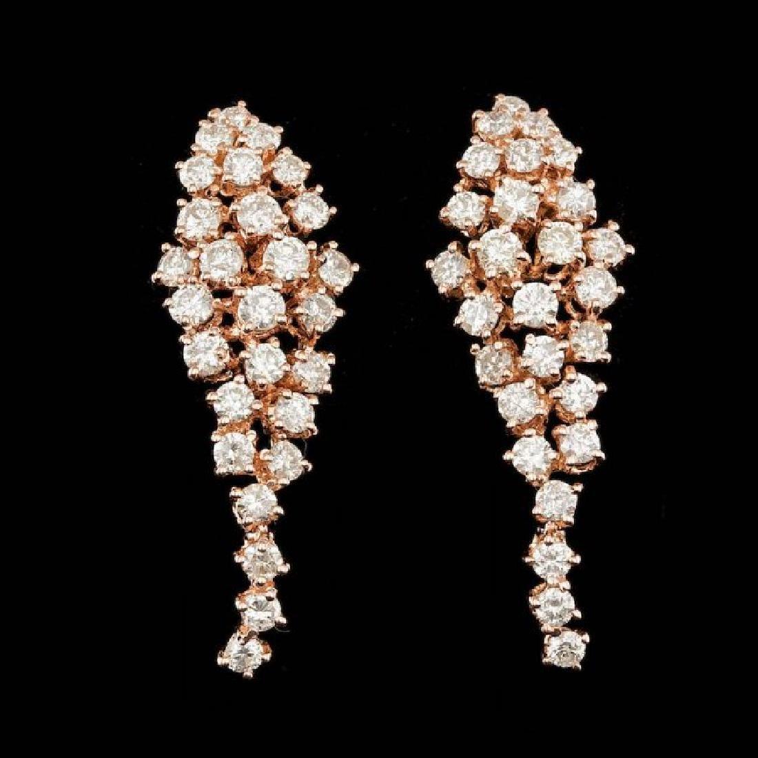 14k Rose Gold 3.00ct Diamond Earrings