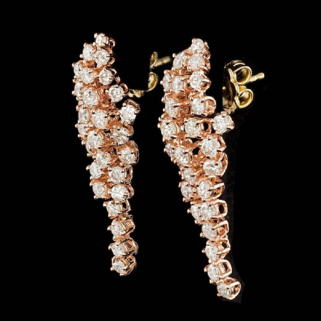 14k Rose Gold 3.00ct Diamond Earrings - 2