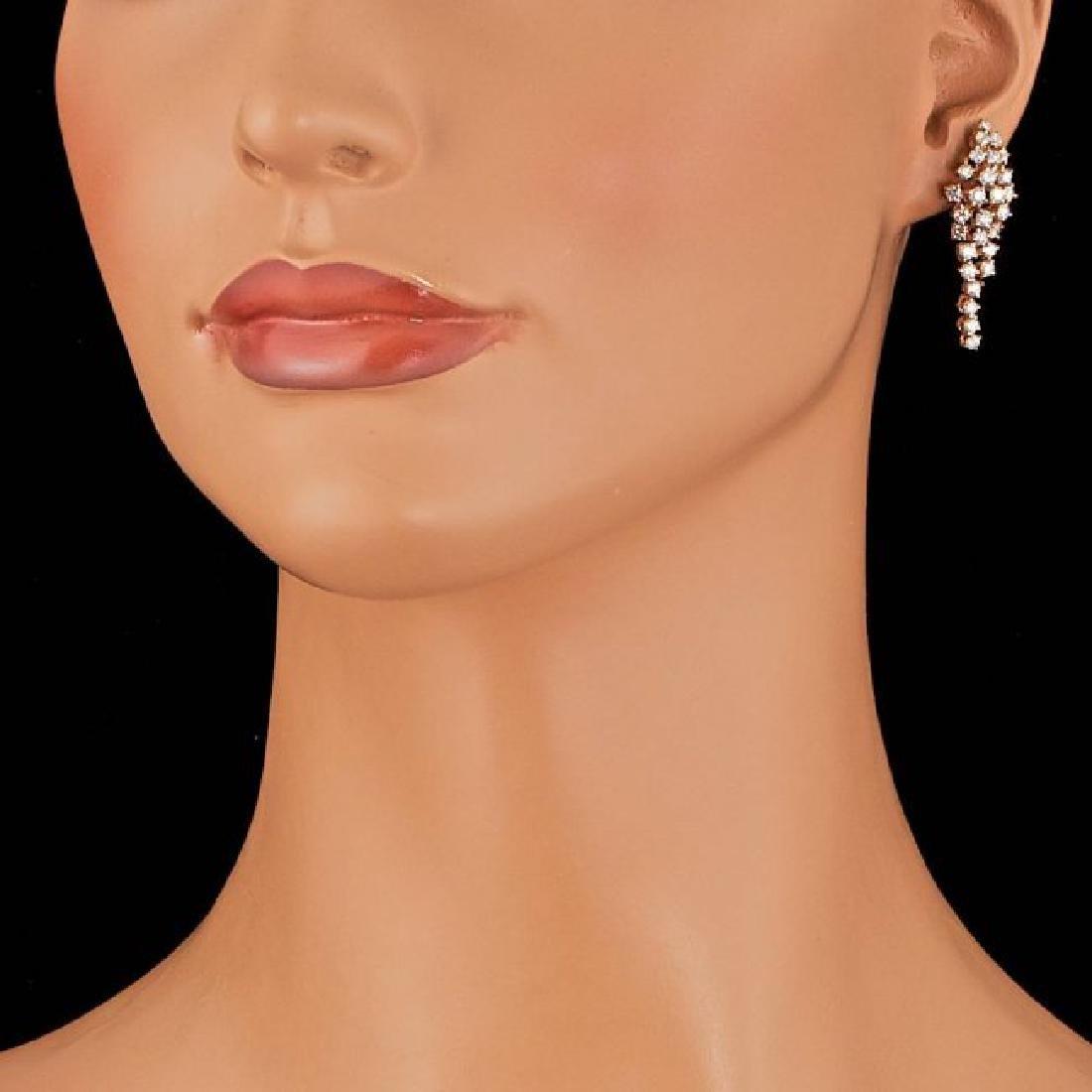 14k Rose Gold 3.00ct Diamond Earrings - 3