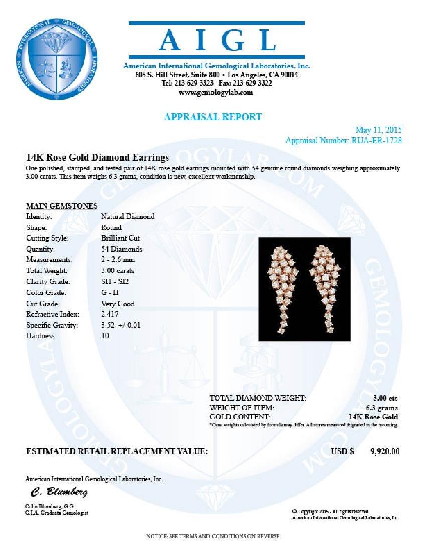 14k Rose Gold 3.00ct Diamond Earrings - 5