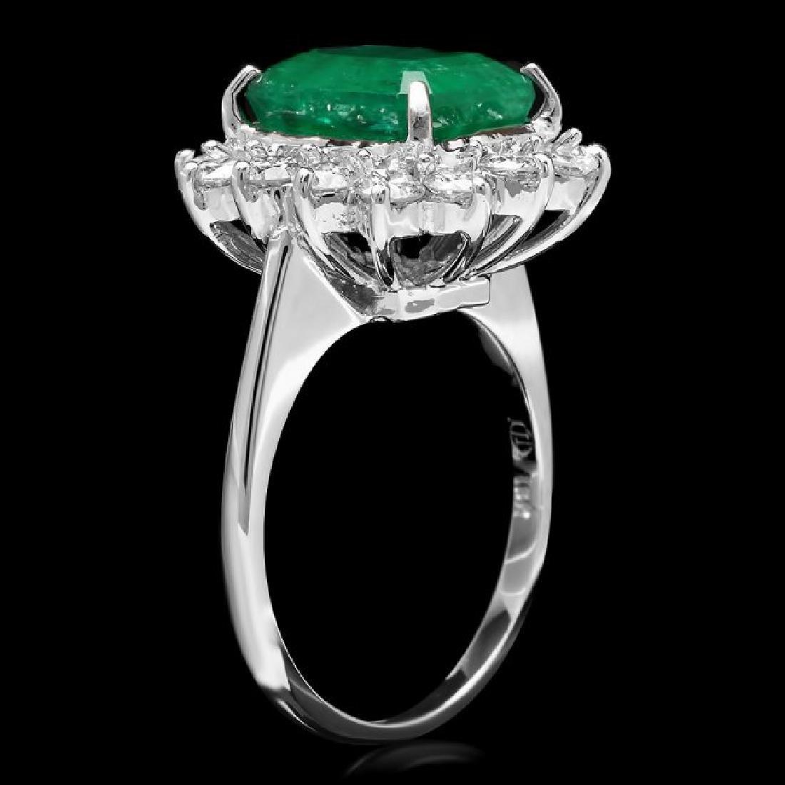 18k White Gold 4.00ct Emerald 1.30ct Diamond Ring - 2