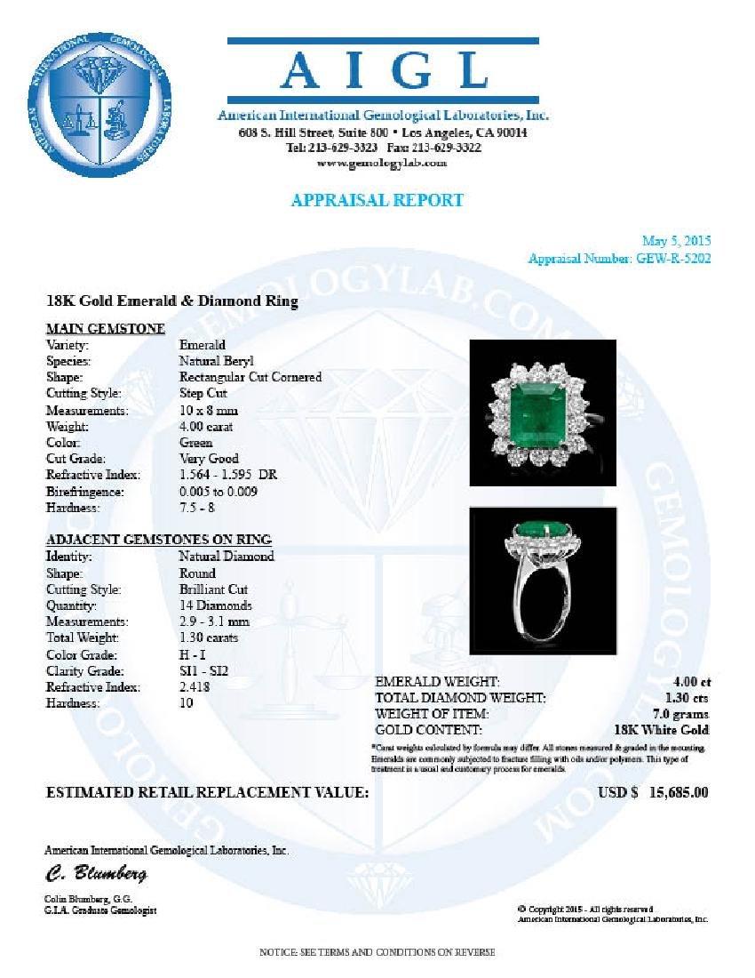 18k White Gold 4.00ct Emerald 1.30ct Diamond Ring - 4
