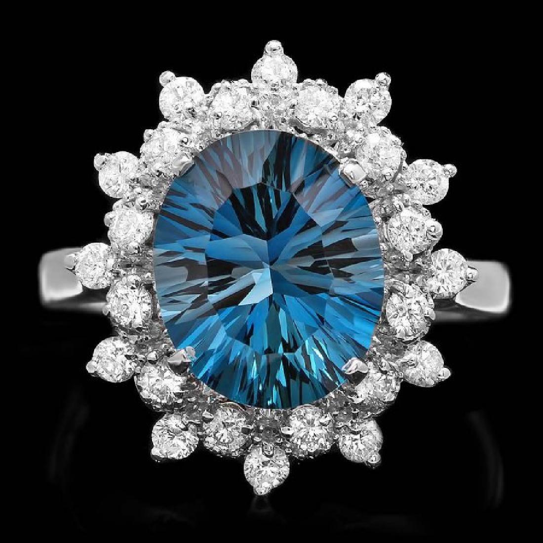 14k White Gold 3.80ct Topaz 0.65ct Diamond Ring