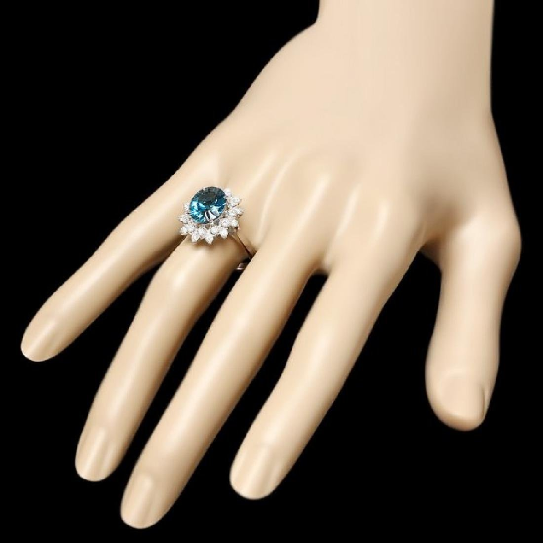 14k White Gold 3.80ct Topaz 0.65ct Diamond Ring - 3
