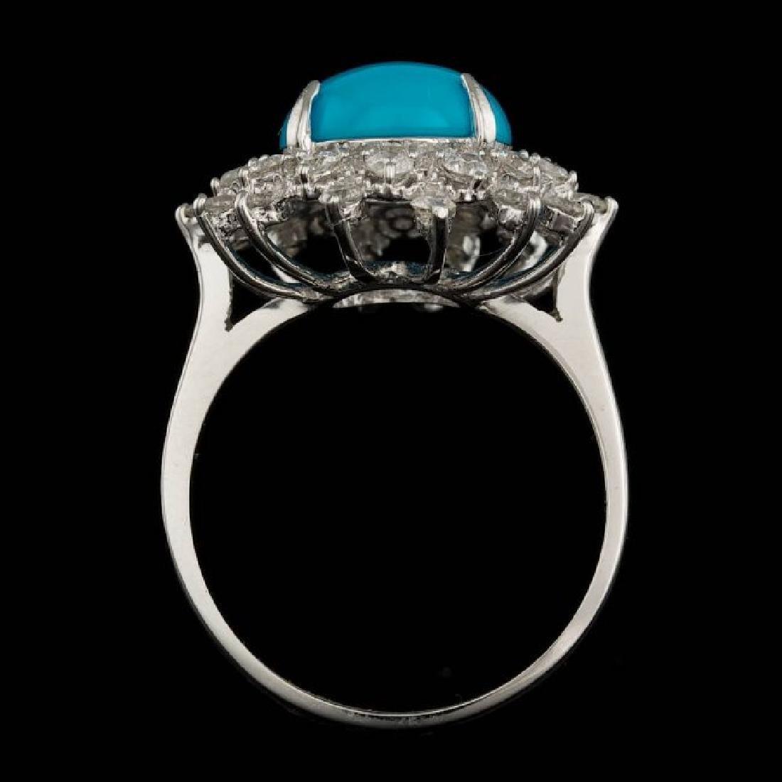 14k Gold 3.30ct Turquoise 0.75ct Diamond Ring - 3
