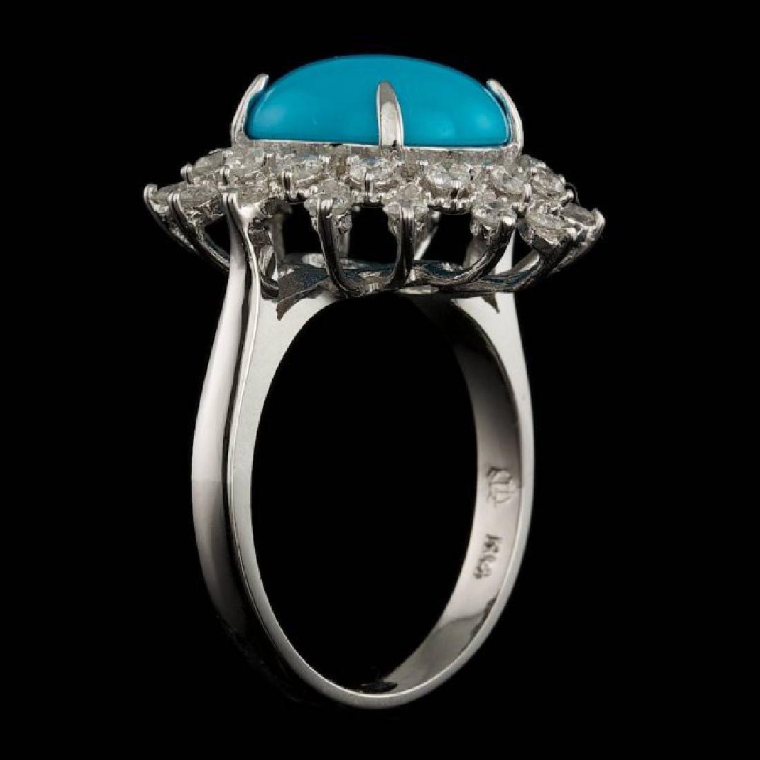 14k Gold 3.30ct Turquoise 0.75ct Diamond Ring - 4