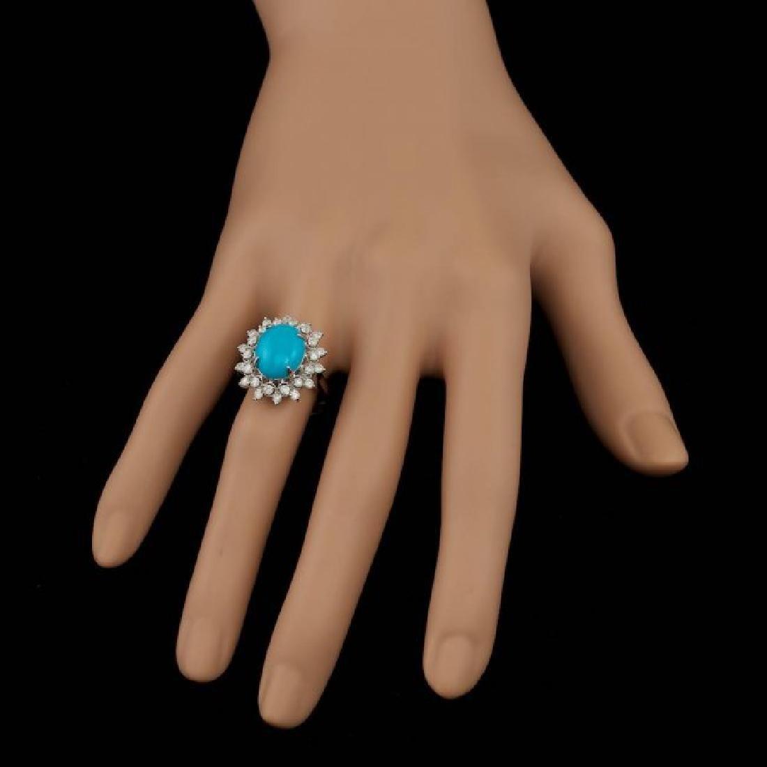 14k Gold 3.30ct Turquoise 0.75ct Diamond Ring - 6