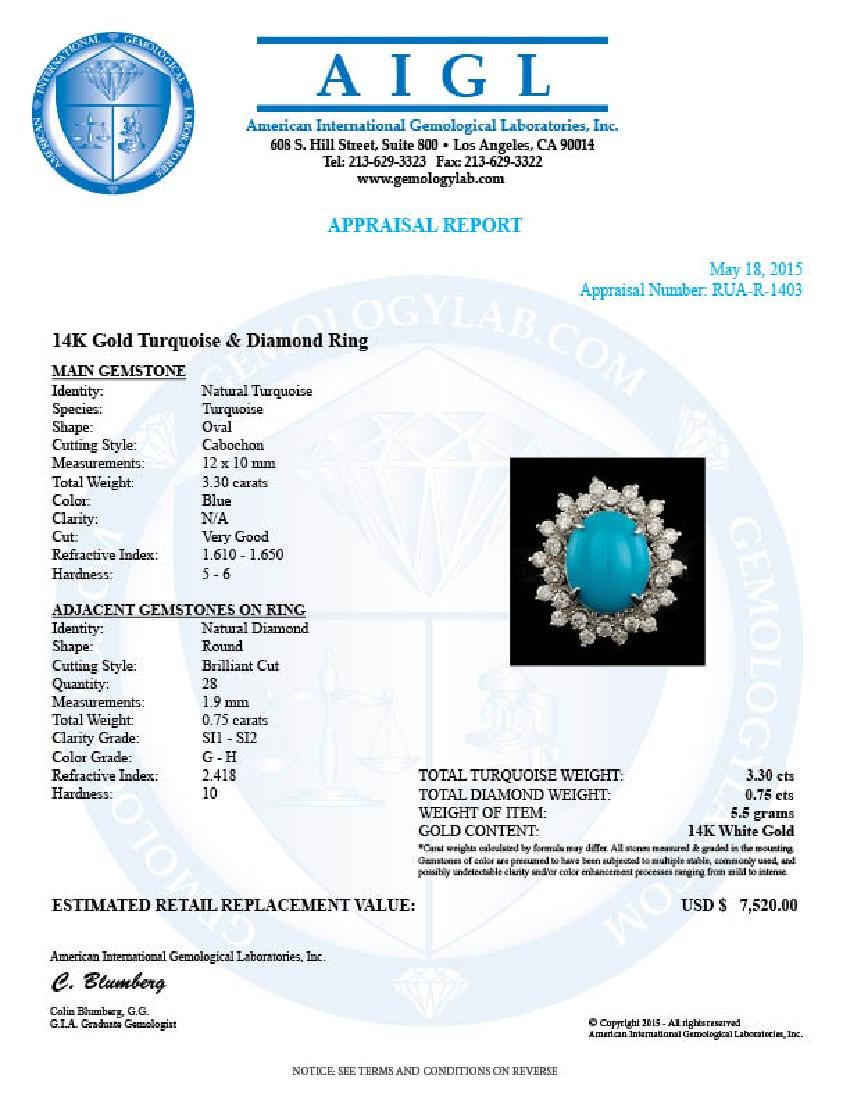 14k Gold 3.30ct Turquoise 0.75ct Diamond Ring - 7