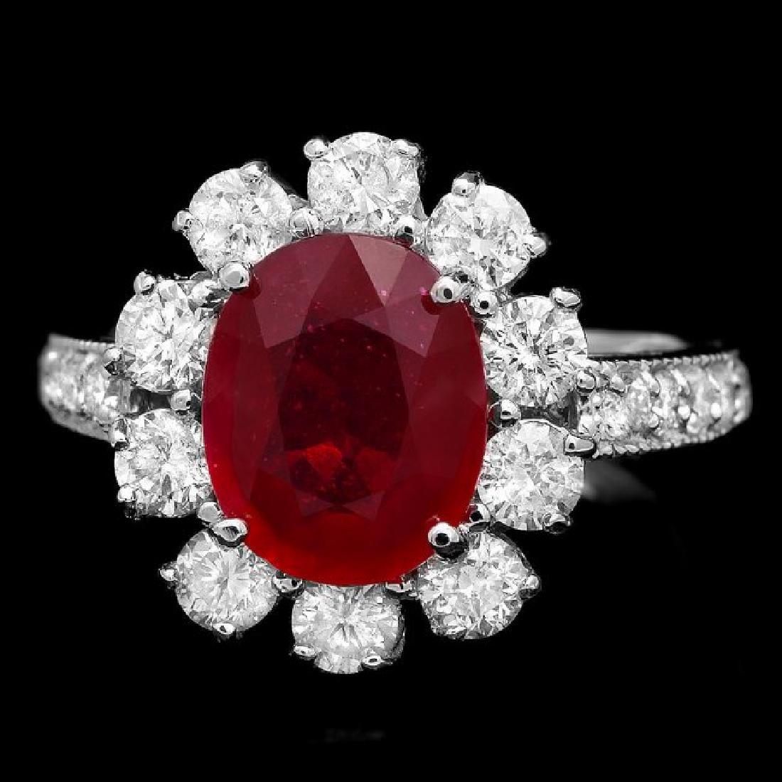 14k White Gold 3.20ct Ruby 1.50ct Diamond Ring - 2