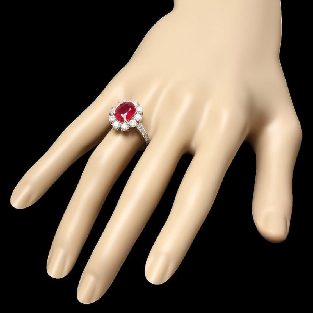 14k White Gold 3.20ct Ruby 1.50ct Diamond Ring - 3