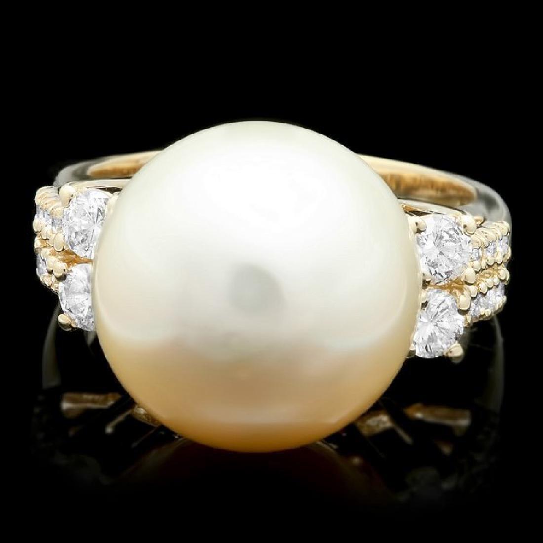14k Yellow Gold 14 Mm Pearl 0.60ct Diamond Ring