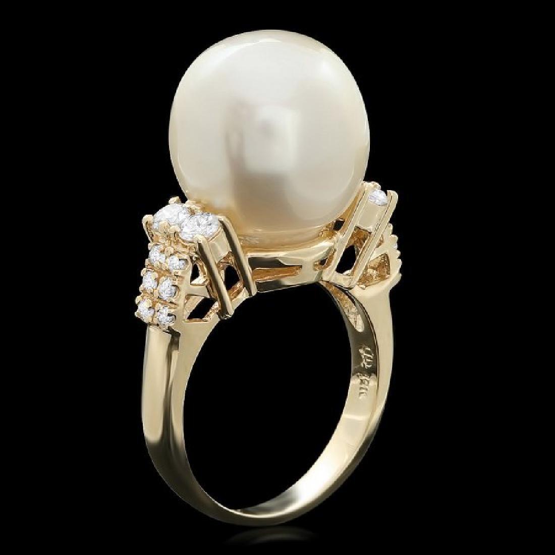 14k Yellow Gold 14 Mm Pearl 0.60ct Diamond Ring - 2
