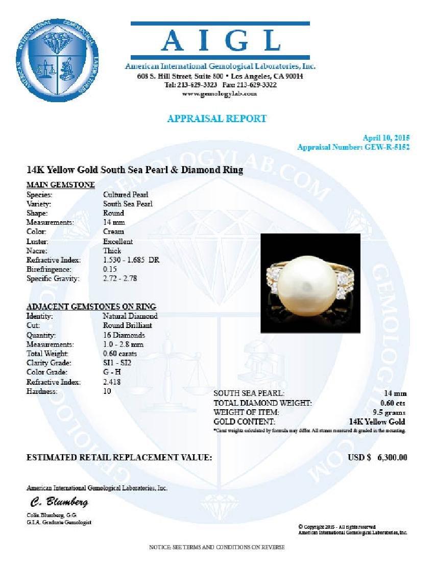 14k Yellow Gold 14 Mm Pearl 0.60ct Diamond Ring - 4