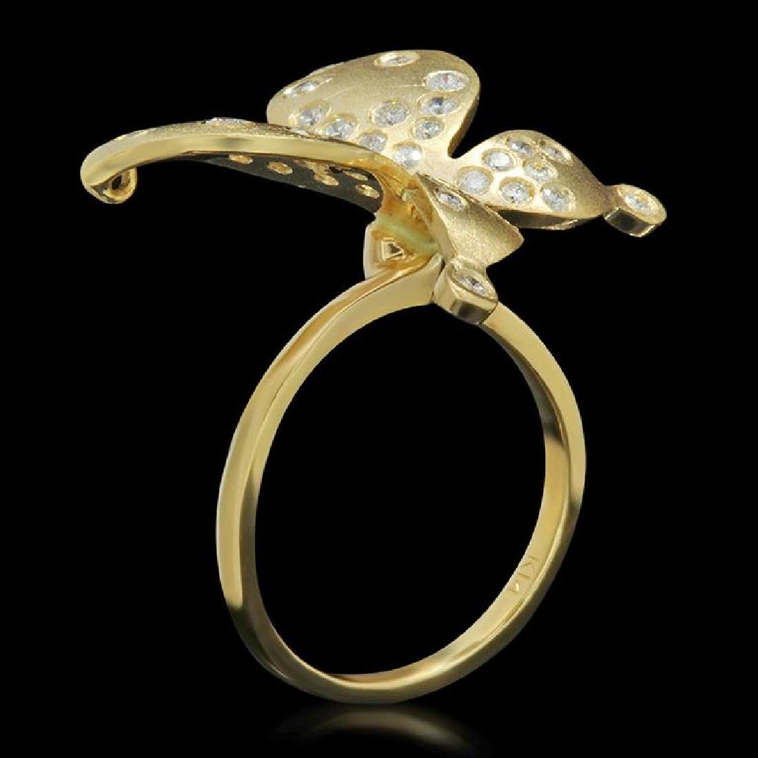 14K Gold 0.78ct Diamond Butterfly Ring - 2